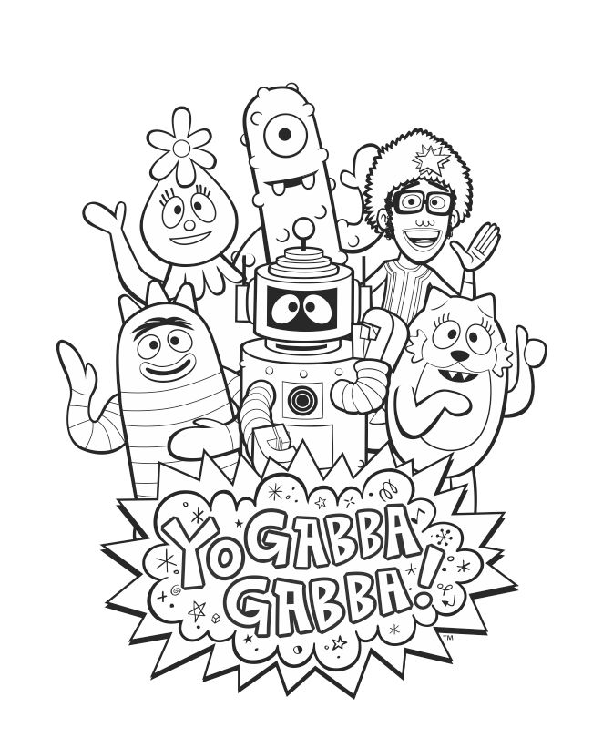 Yogabbagabba Group Coloring Sheet With Djlance Brobee Foofa Plex Muno And Toodee Yo Gabba Gabba Coloring Pages Gabba Gabba