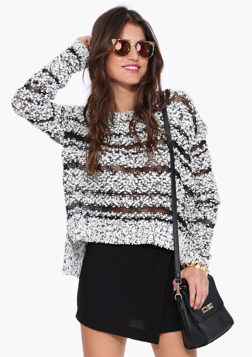 Scruff Knit Sweater in Black/white Necessary Clothing