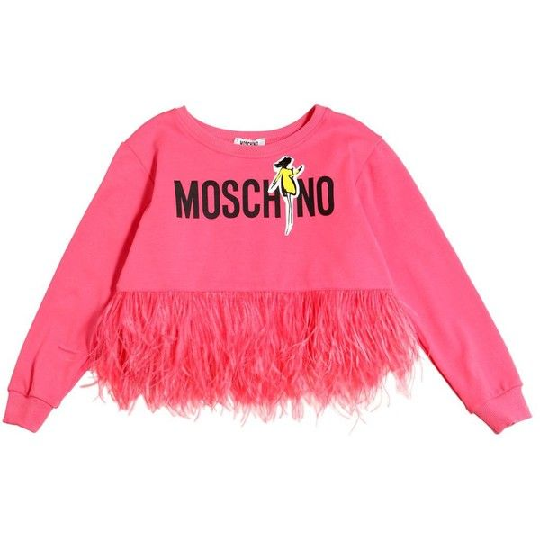 ebf8812d3a2e9 Moschino Kids-girls Cropped Cotton Sweatshirt W  Feathers (1515 MAD) ❤  liked on Polyvore featuring pink
