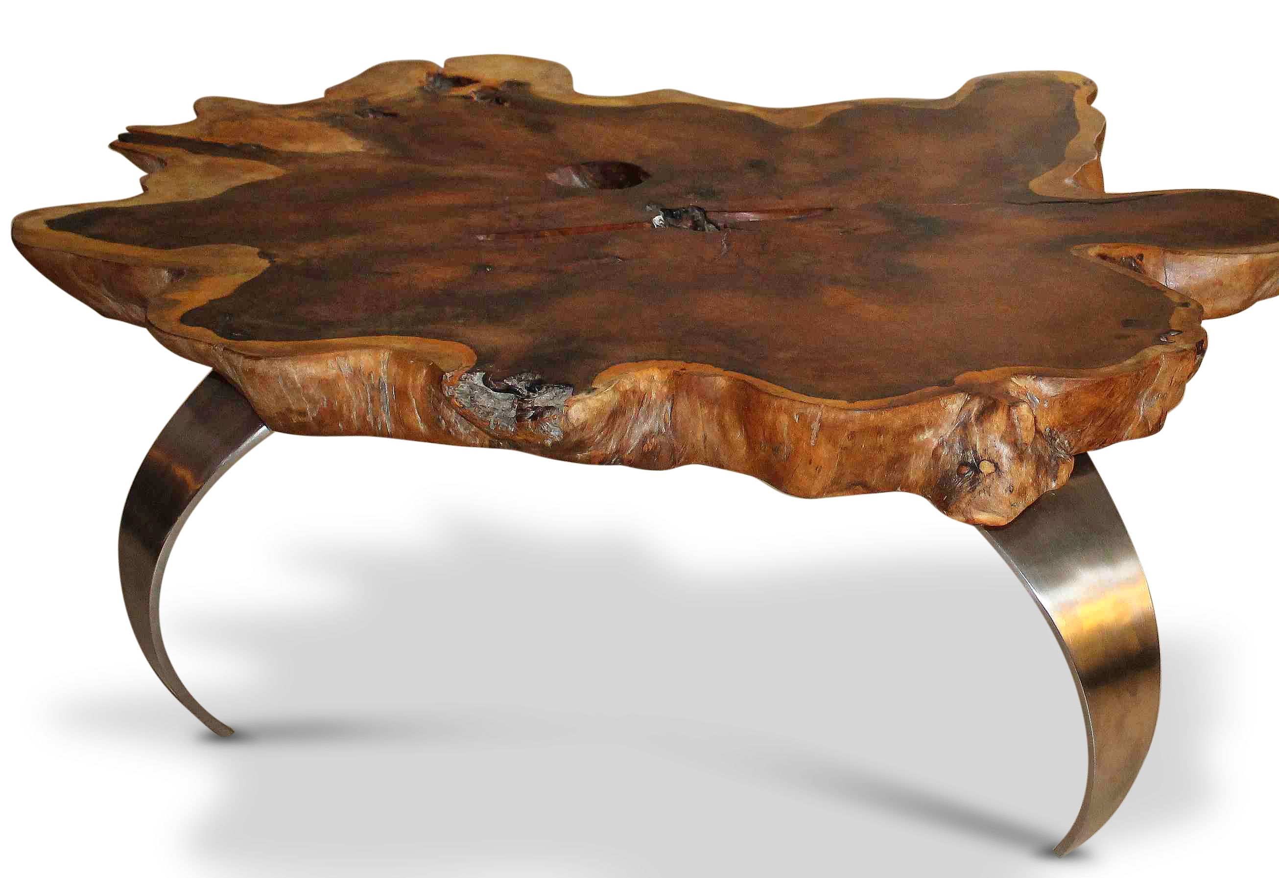 Tisch aus Akazienplatte mit Edelstahlfüssen. www.mangostil.de ...