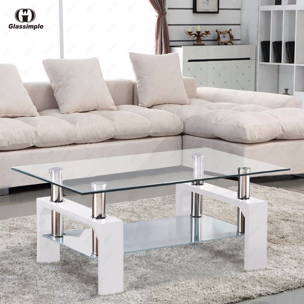 Rectangular Glass Coffee Table Shelf Chrome White Wood Living Room