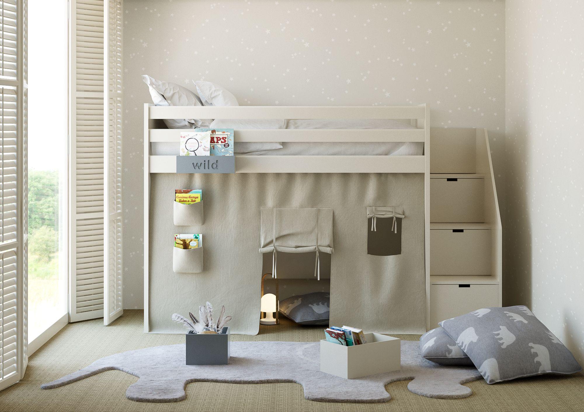 Complete Slaapkamer Met Halfhoogslaper.Hoogslaper Met Tipi Tent En Trap Van Roomplanner By Asoral