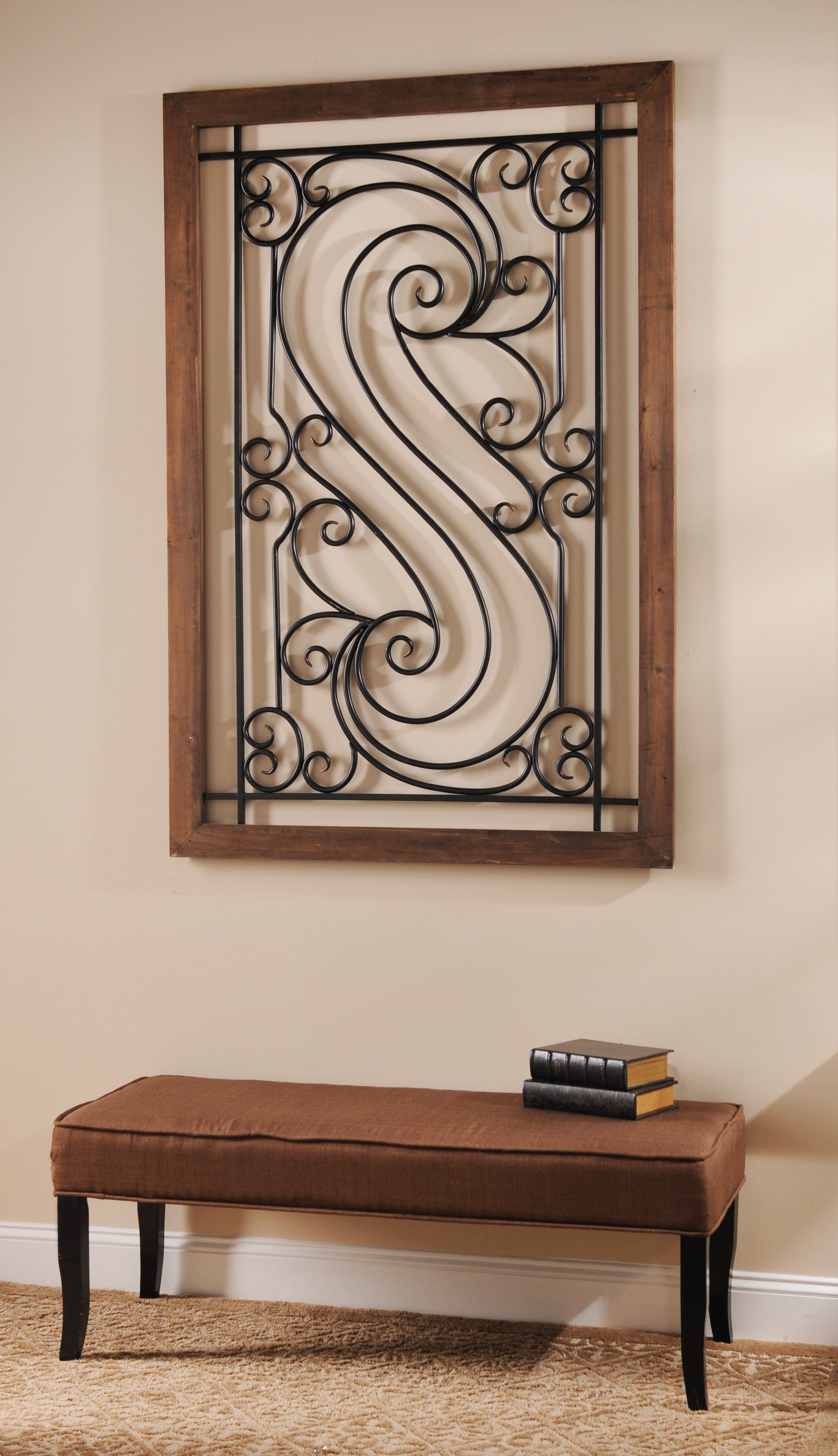 Elegant Metal Scroll Plaque Wrought Iron Wall Decor