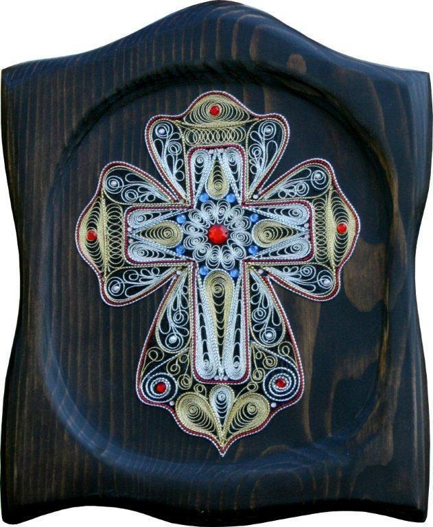 Филигран од срма-Крст на дрво27x33x2 - eKupi.mk - Вашата интернет продавница
