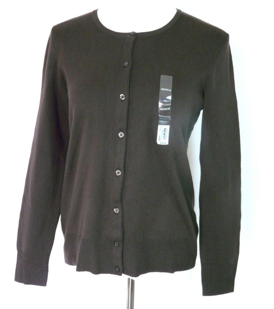 NWT Croft & Barrow Womens Cardigan Sweater Cotton Blend Brown Size ...