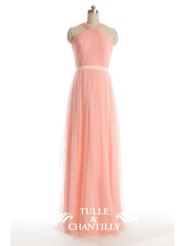 Pleated Long Pastel Tulle Halter Bridesmaid Dress TBQP312