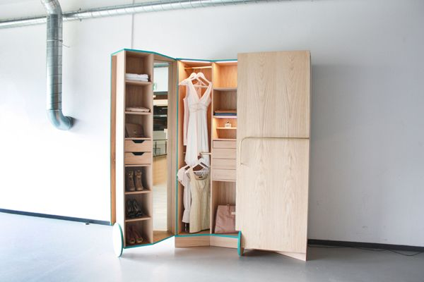 Good solution to a room with no closet. A Compact Walk-in Closet With