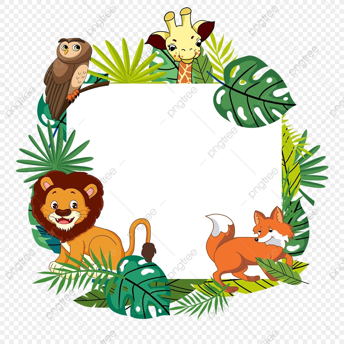 Jungle Giraffe Lion Fox Animal Border Element Animal Forest Leaf Png Transparent Clipart Image And Psd File For Free Download Pet Fox Pet Monkey Jungle