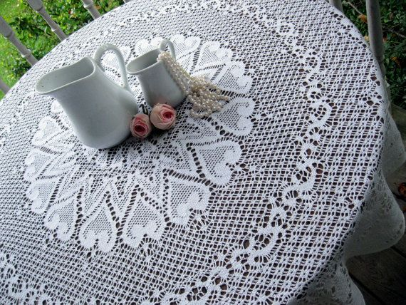 Lace Tablecloth Round French Country Cottage by mailordervintage