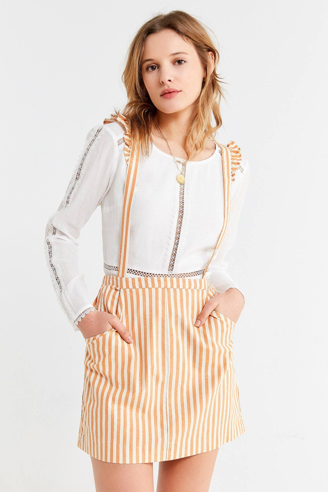 19da422f2 UO Rosie Ruffle Skirtall Overall | New Arrivals | Urban outfits ...