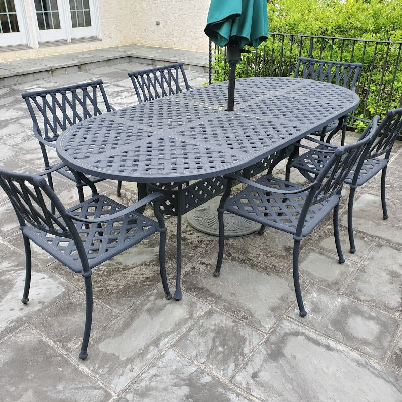 This Beautiful Cast Aluminiun Patio Set Is Part Of Our Wayne Estate Sale On Sunday Details Are Posted On Our Website Now Patio Set Outdoor Decor Outdoor Table