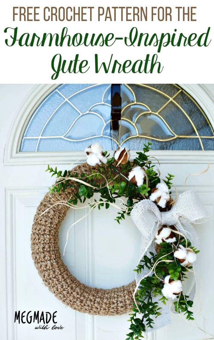 Photo of Free Crochet Farmhouse-inspired Jute Wreath Pattern