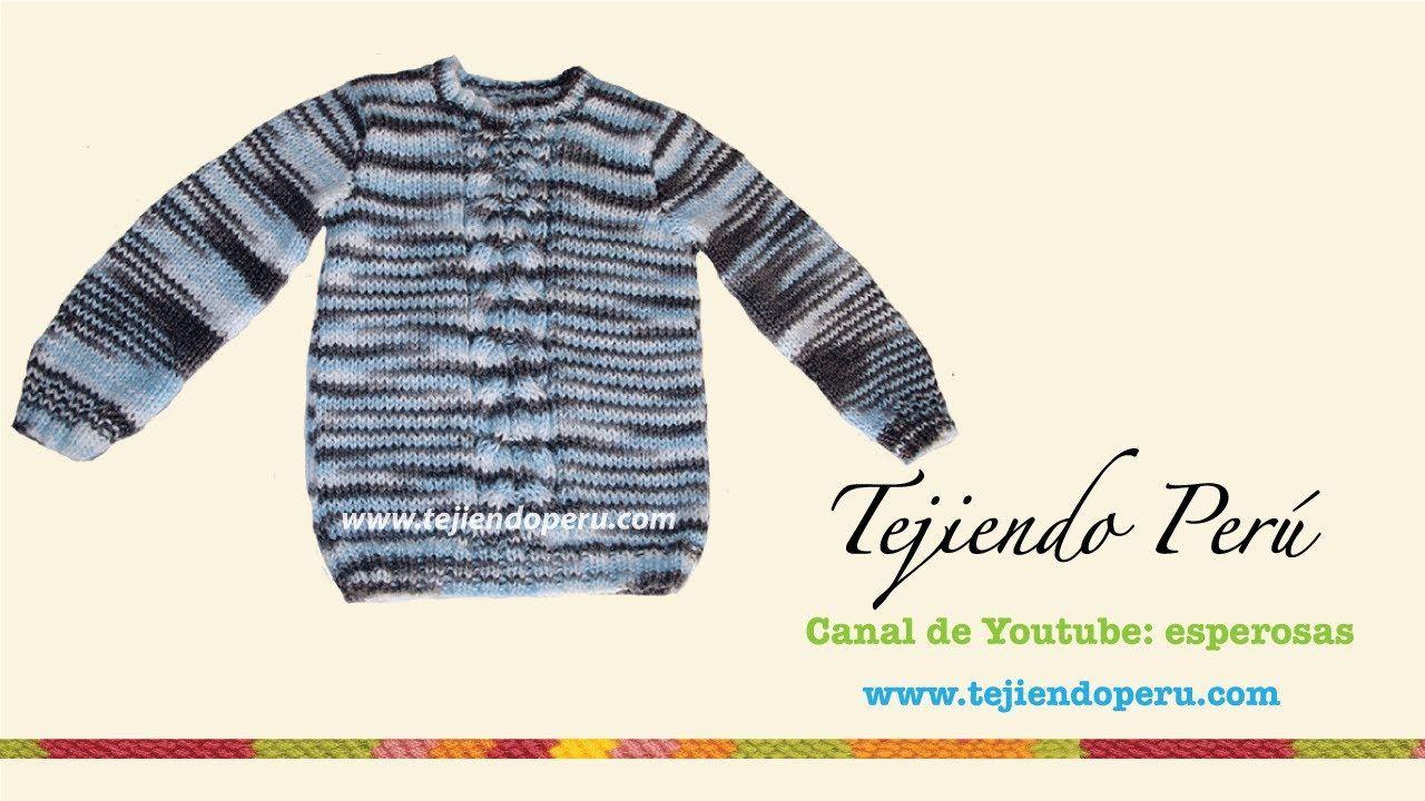 Chompa o sweater tejdo en dos agujas para niños (Parte 3)   2 AGUJAS ...