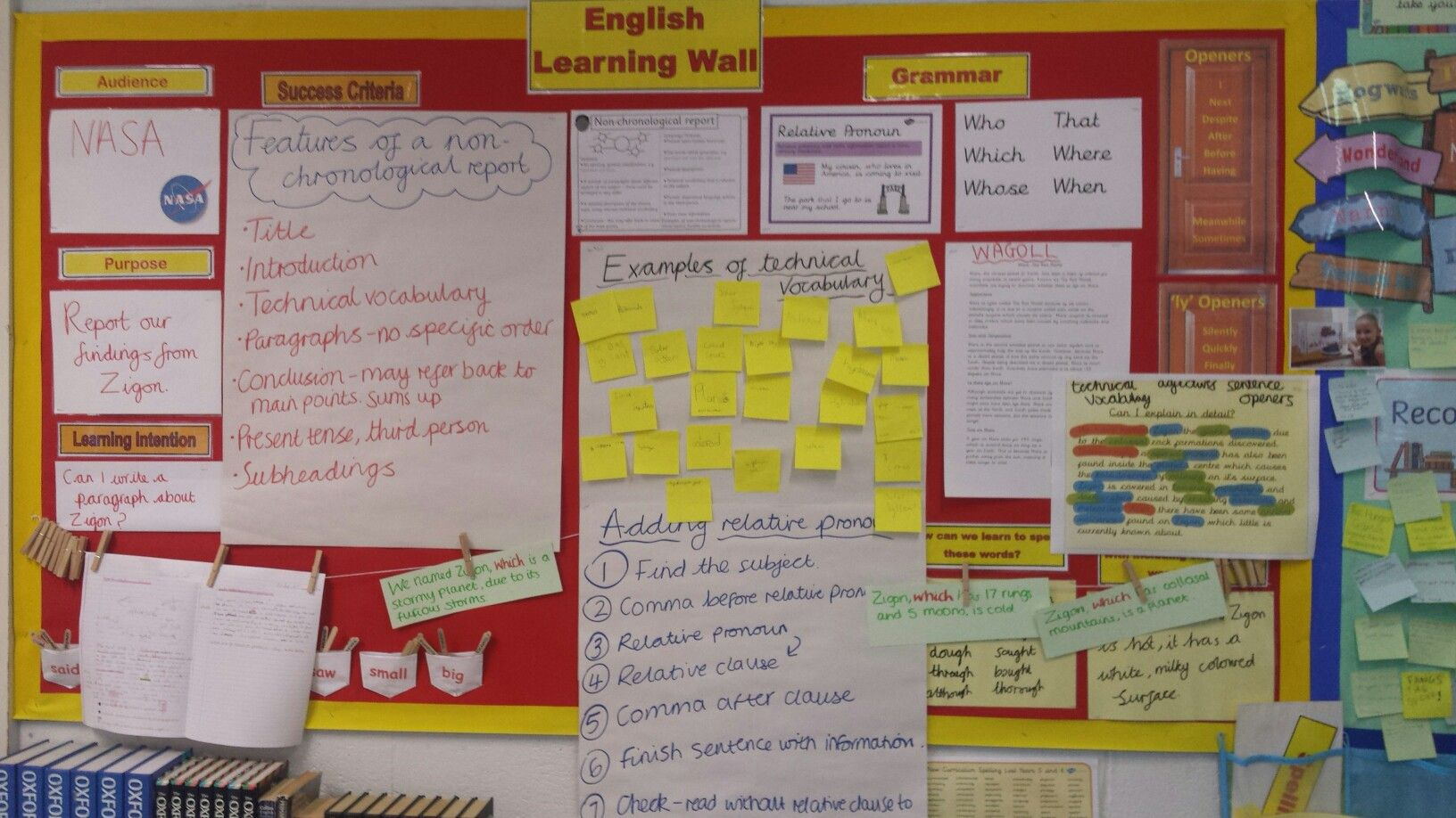 Uks2 English Learning Wall Non Chronological Reports