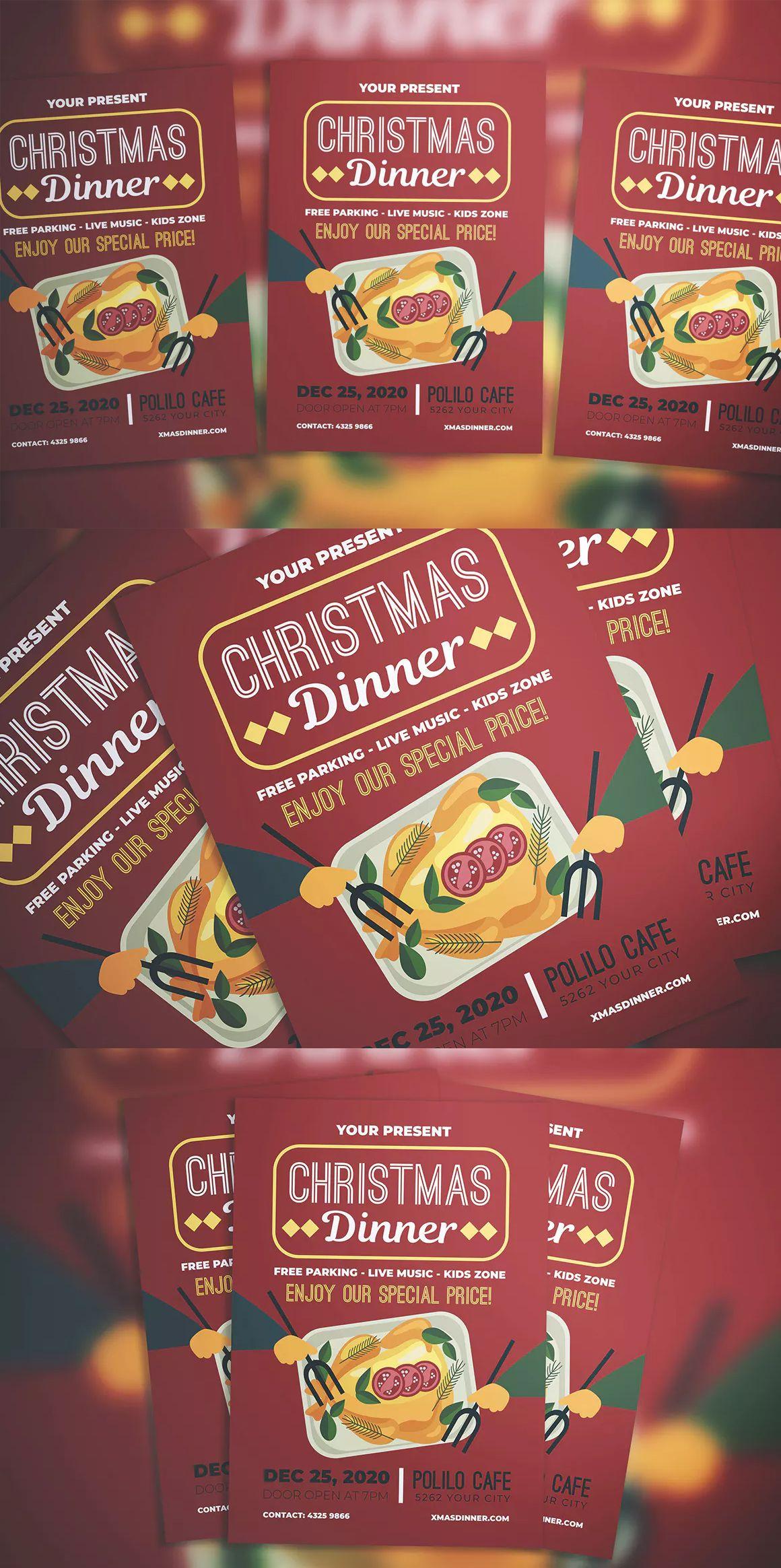 christmas dinner flyer template ai psd a4 flyer templates