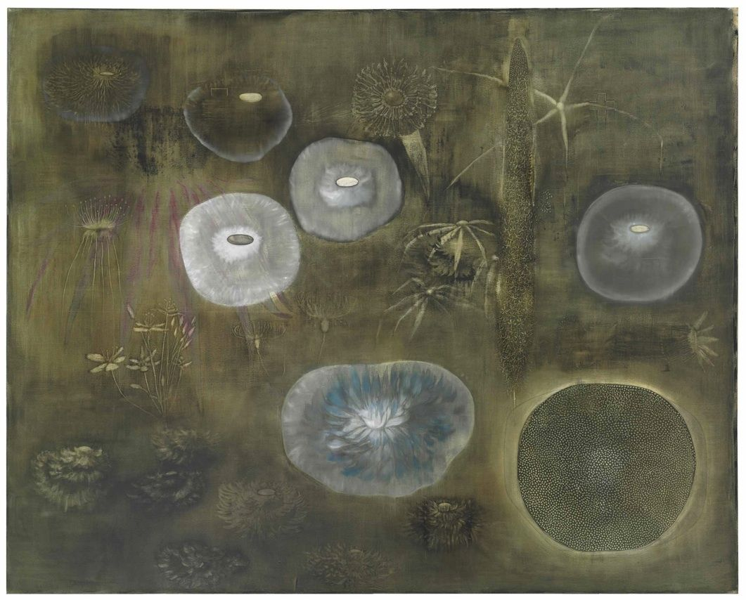 Ross Bleckner (American, b. 1949), Unannounced, 1996. Oil on canvas, 96 x 120 in.