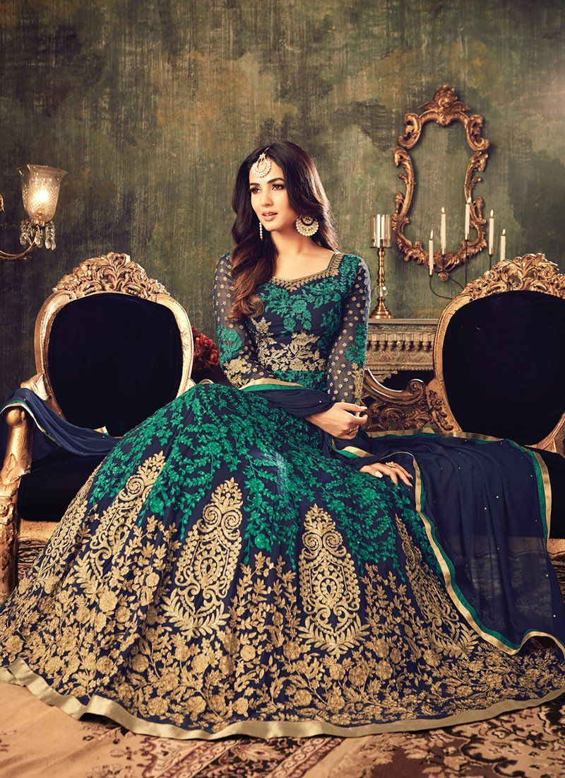Blue and green embroidered georgette anarkali suit women