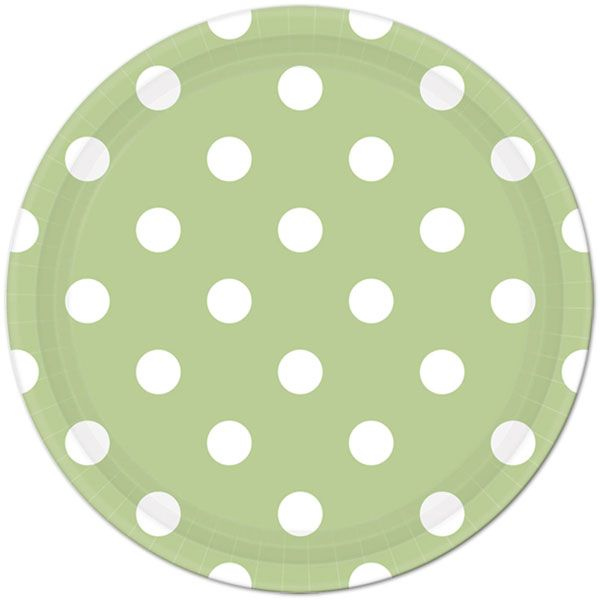 Pistachio Green Polka Dot Lunch Plates (8) Match with Pistachio polka dot beverage or lunch napkins, and dessert plates or mix with our Pistachio Chevron supplies!