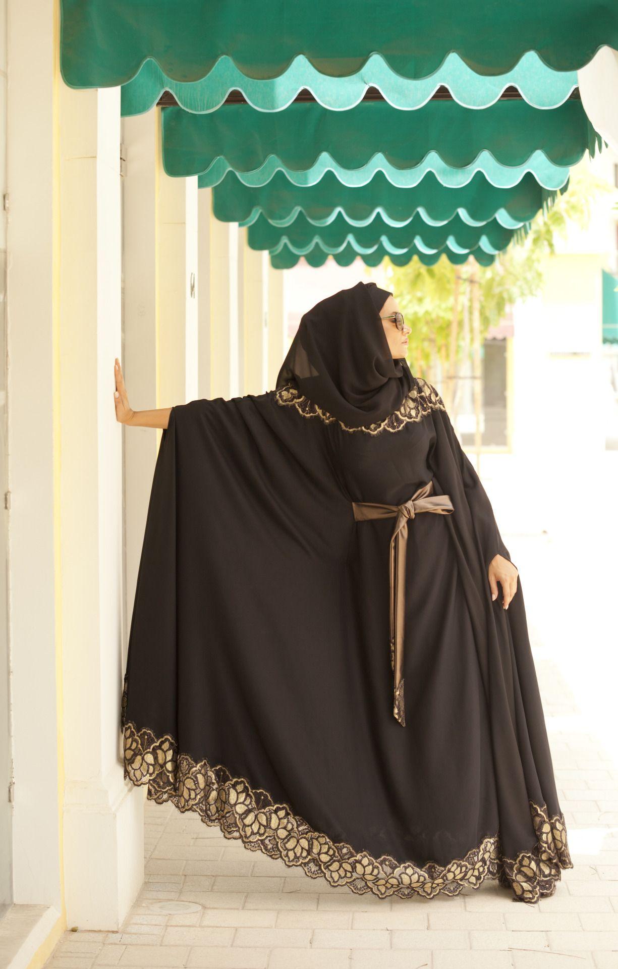 Lace umbrella abaya  almotahajiba Abaya from Al Motahajiba Autumn Collection