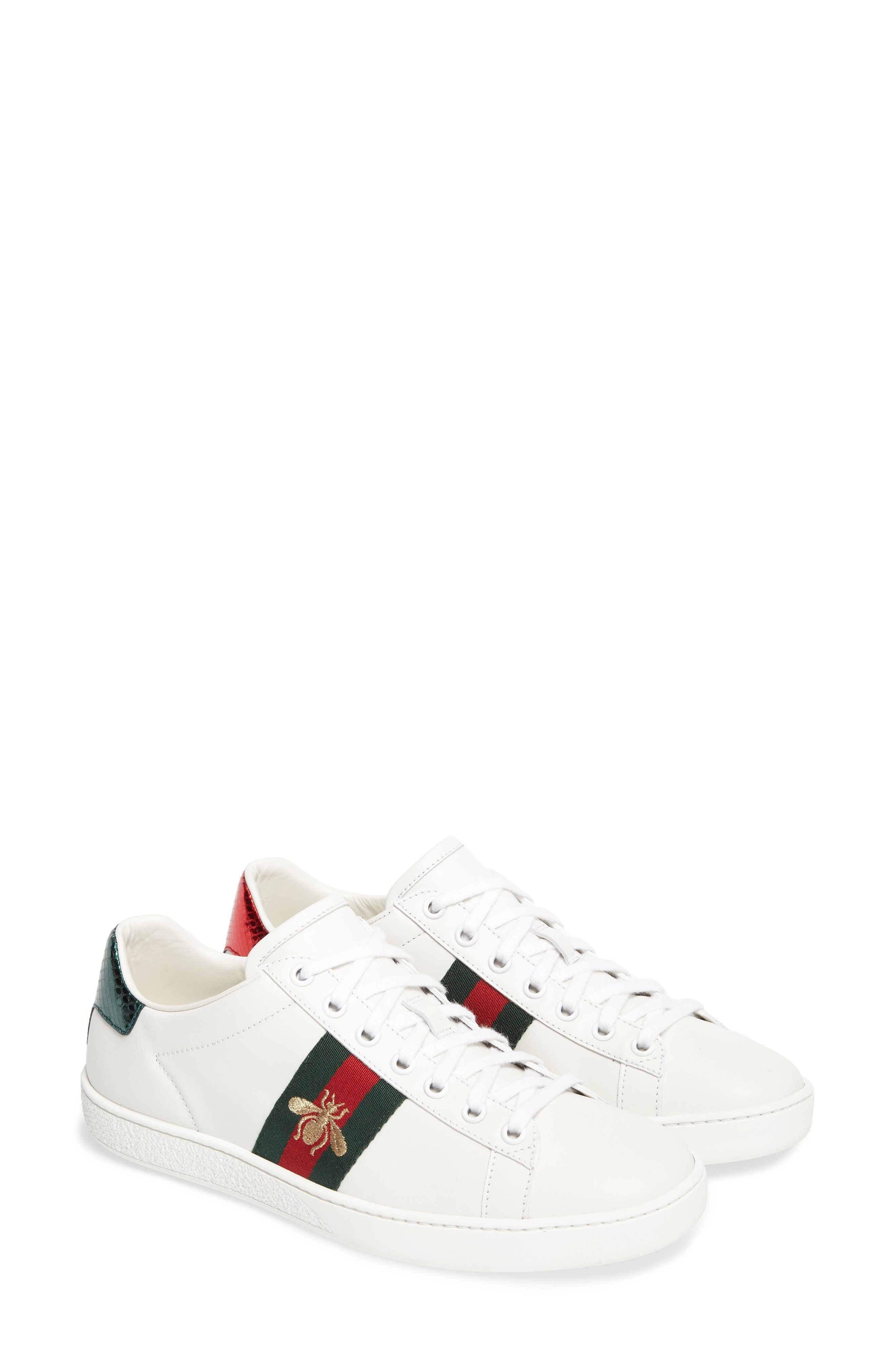 84ccb1a06e8 Gucci Ace Watersnake-Trimmed Embroidered Leather Sneakers, White ...