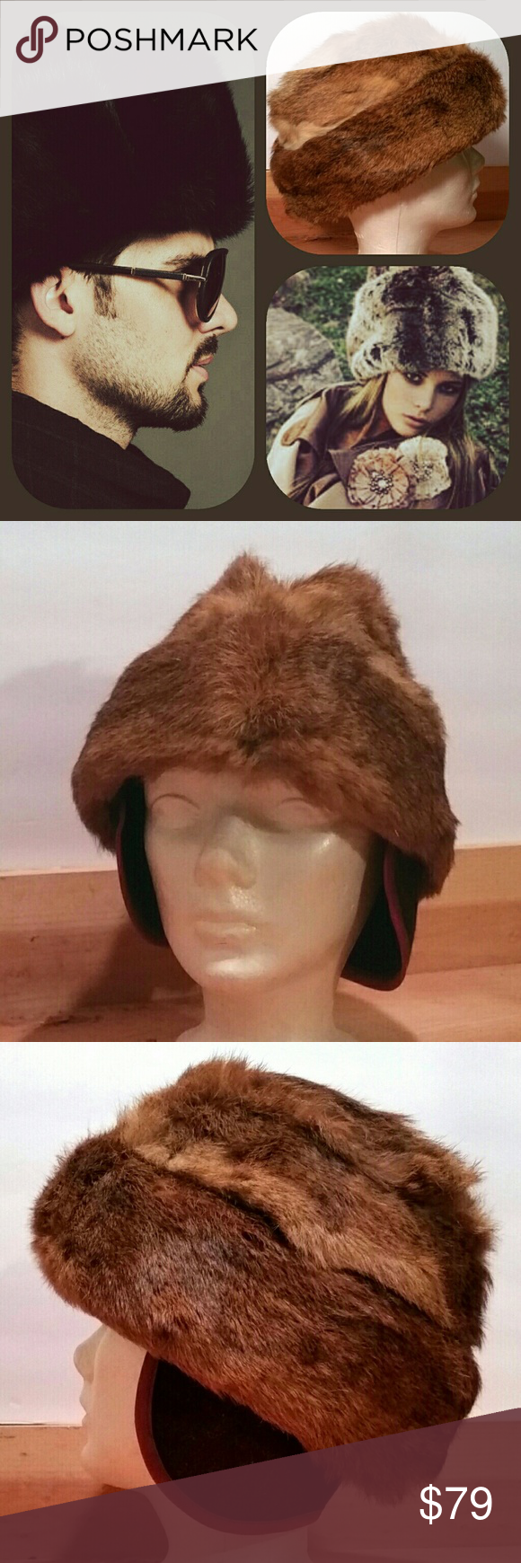 e24ef2a35e844d Vintage Cossack Hat Rabbit Fur France Made in USA Unisex Hat Softest rabbit  fur hat.