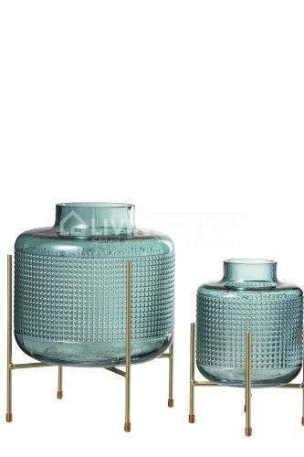Deco Glazen Vazen Op Voet Goud J Line Decoratie Decoratieve Vazen Vazen Decoratie