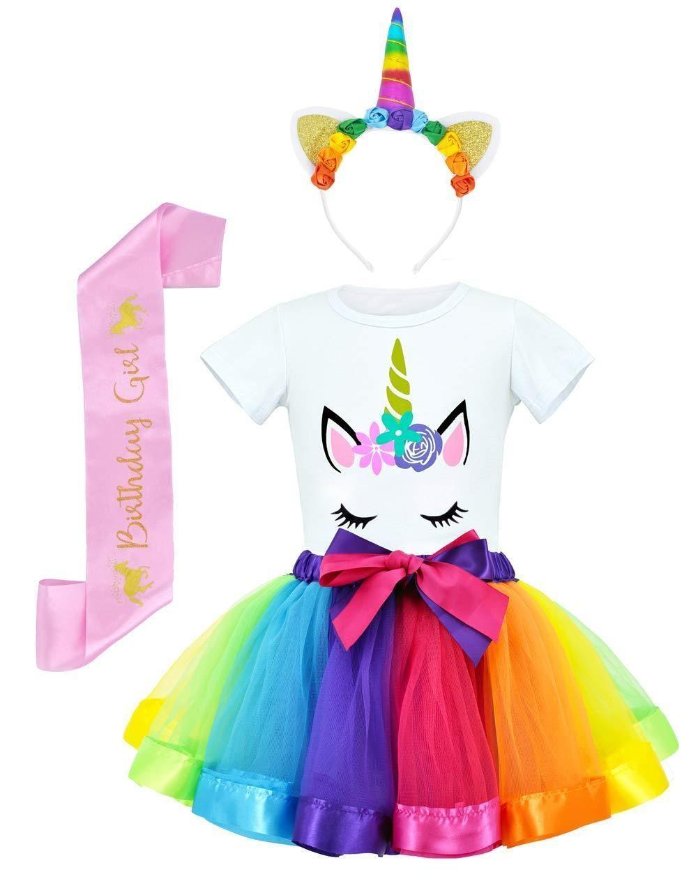 Rainbow girl costume tutu skirt with unicorn shirt, headband and belt #rain satin ..., #costume #headband #rainbow #satin #shirt #skirt #unicorn
