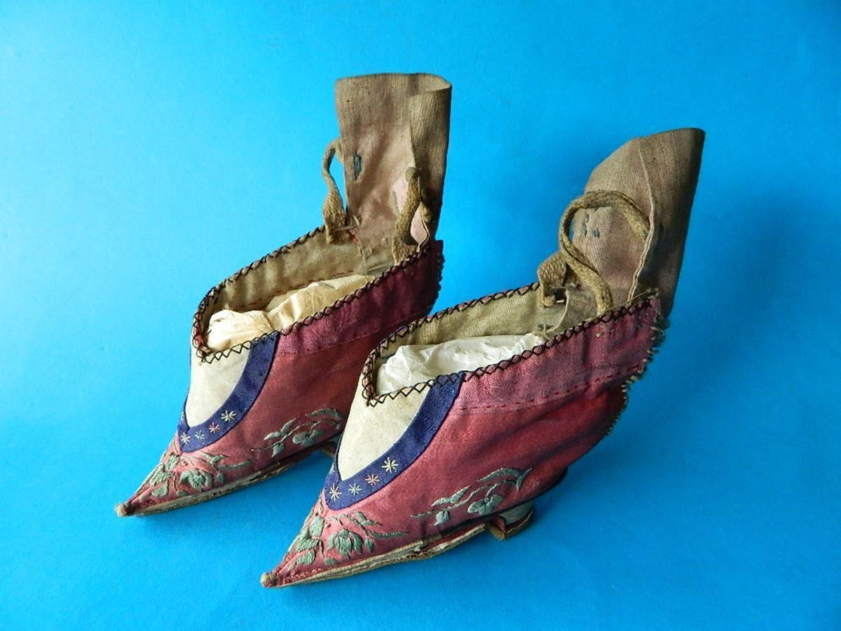 Antique Chinese Miniature Silk Shoes