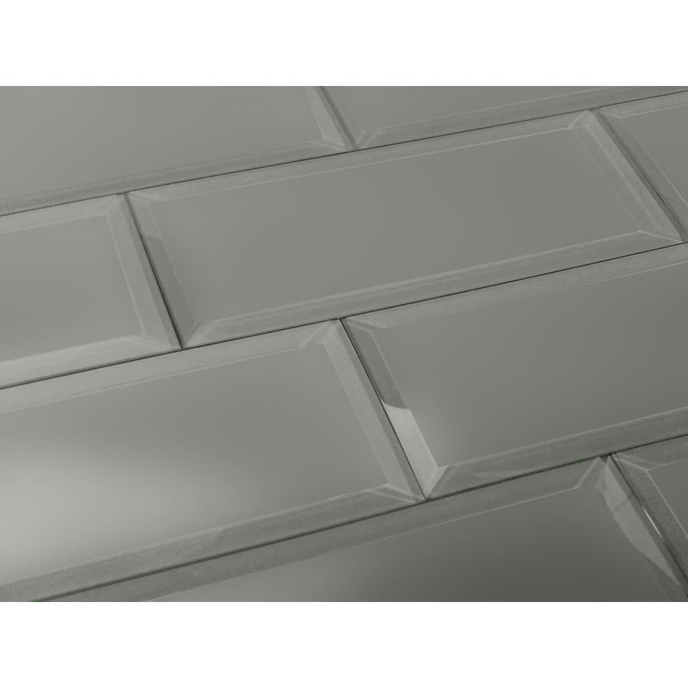 "Abolos 3/"" x 12/"" Beveled Subway Glass Tile in Matte White"