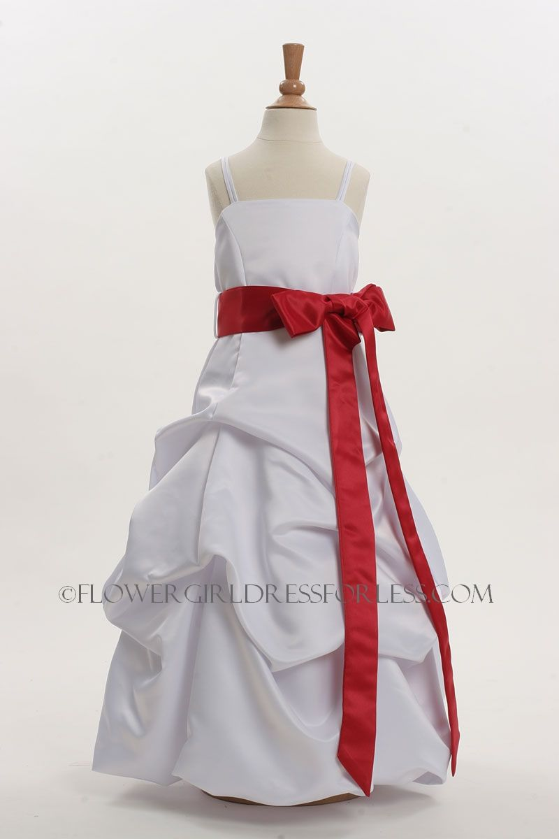 3288r Flower Girl Dress Style 3288 White Dress With Red Sash