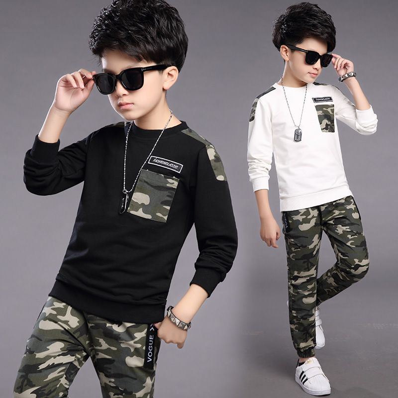 >> Click to Buy << Spring 2017 Kids Boys cotton camouflage sport long sleeved t-shirt+pant two pieces suit #Affiliate