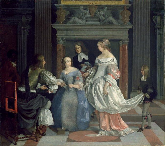 An Interior with Ladies and Gentlemen at Cards, mid-1660s by Eglon Hendrick van der Neer