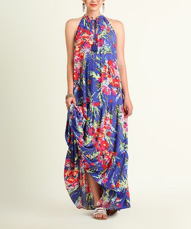Look what I found on #zulily! Royal Blue Floral Keyhole Maxi Dress #zulilyfinds