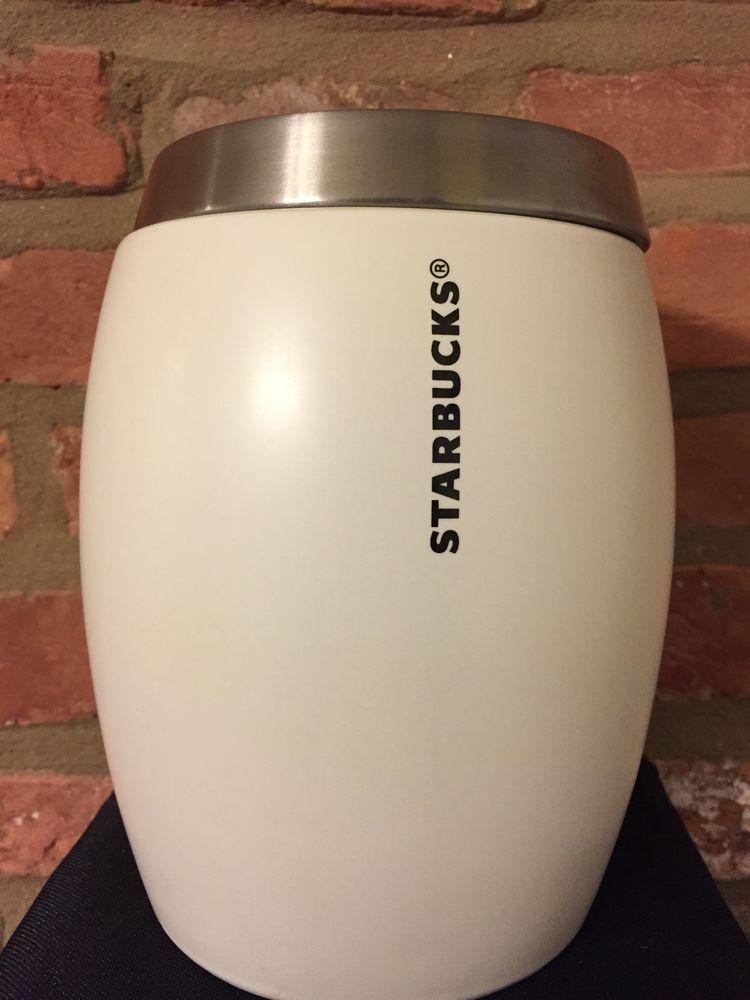 Starbucks Canister Jar White Mermaid Logo Silver Lid Original Rare 2011 Coffee #STARBUCKS
