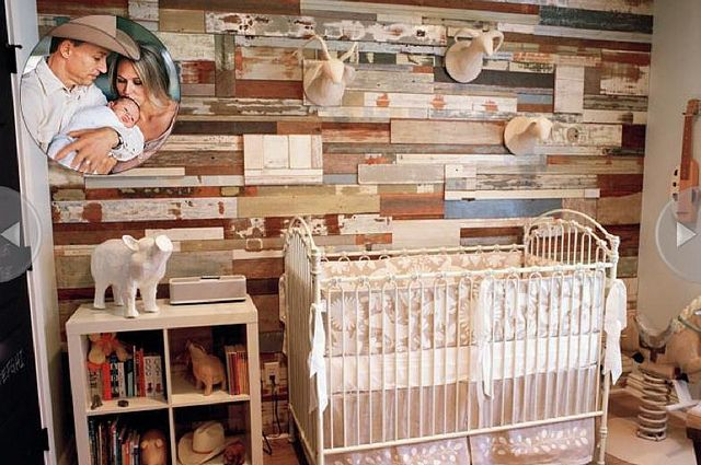 Our embroidered Marlo Crib Set in Jewel's rustic chic nursery!