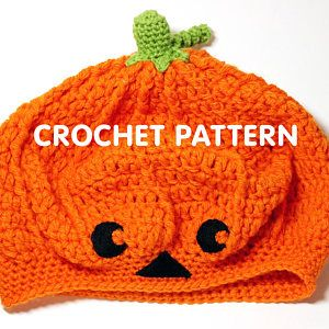 ab8b89887f701 Pumpkin Jack-o-lantern Slouchy Beret Hat - Crochet Pattern PDF ...