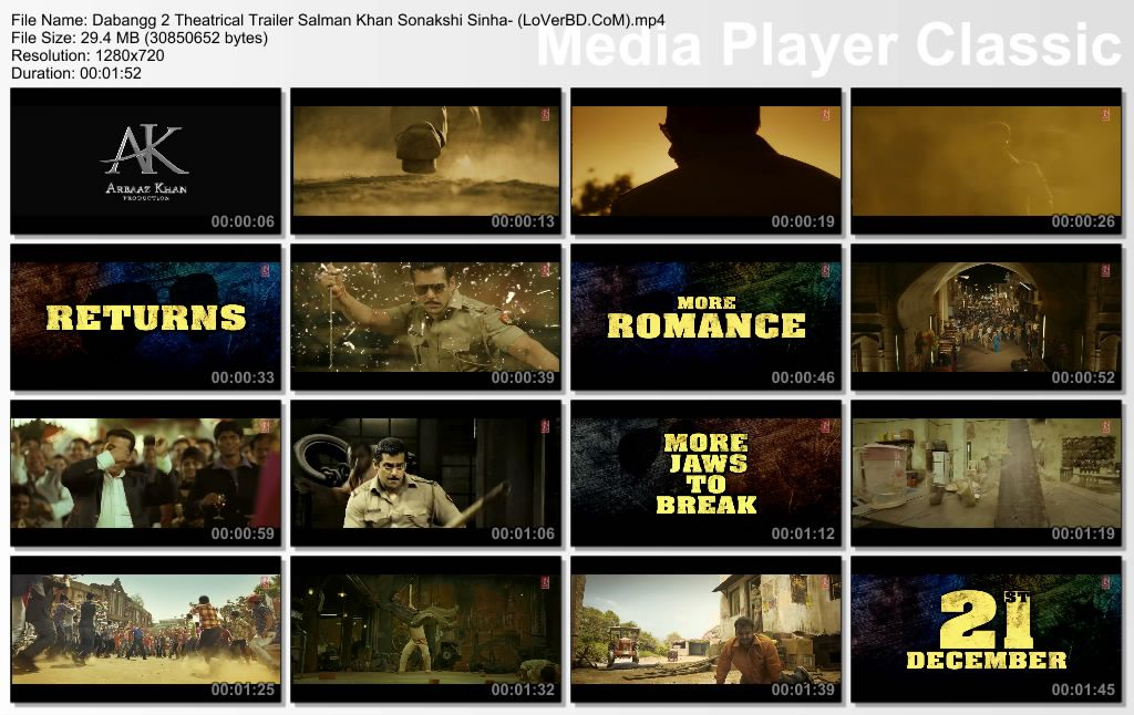 Dabangg 2 2012 Hindi Movie Theatrical Trailer HD Video Free