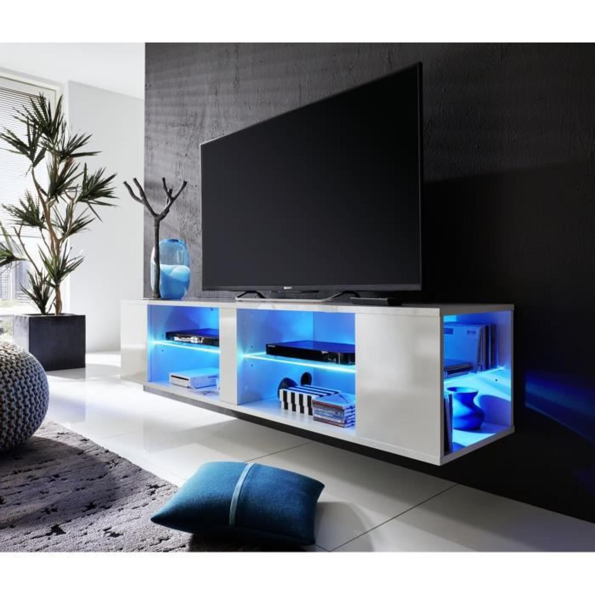Tonnant Meuble Tv Suspendu Led D Coration Fran Aise Pinterest  # Amenagement Tele Meuble Suspendu