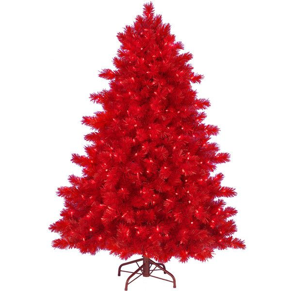 6 Ft Ashley Red Christmas Tree ($199) ❤ liked on Polyvore featuring
