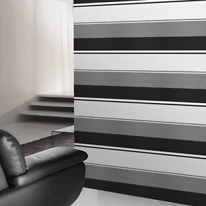 How The Black White Silver Stiped Wallpaper Could Look As A Feature In Your Entry Striped Bedroom Grey Striped Walls Grey Walls Living Room
