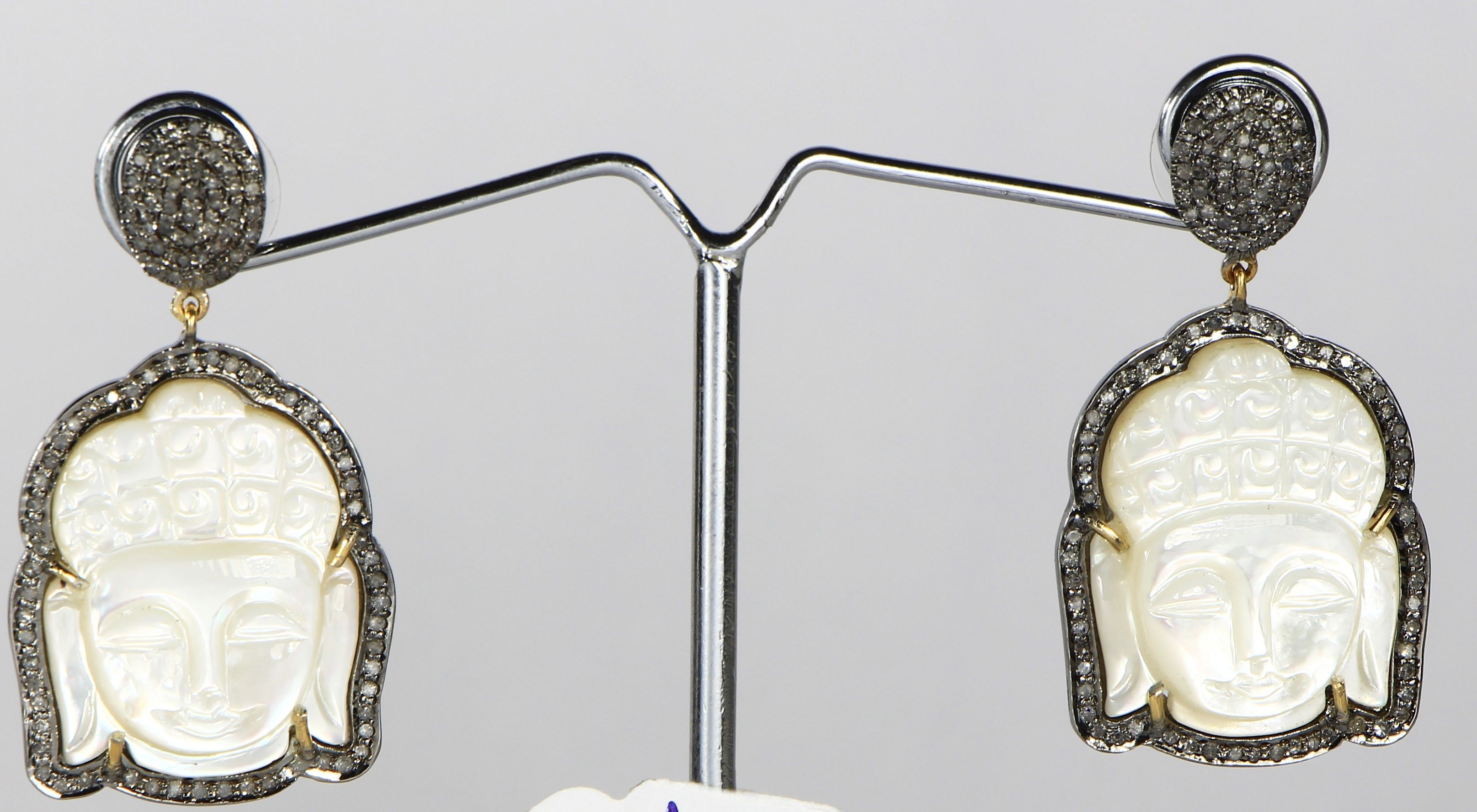 Buddha Design Earrings with carved Mother of Pearl and Pave Diamonds