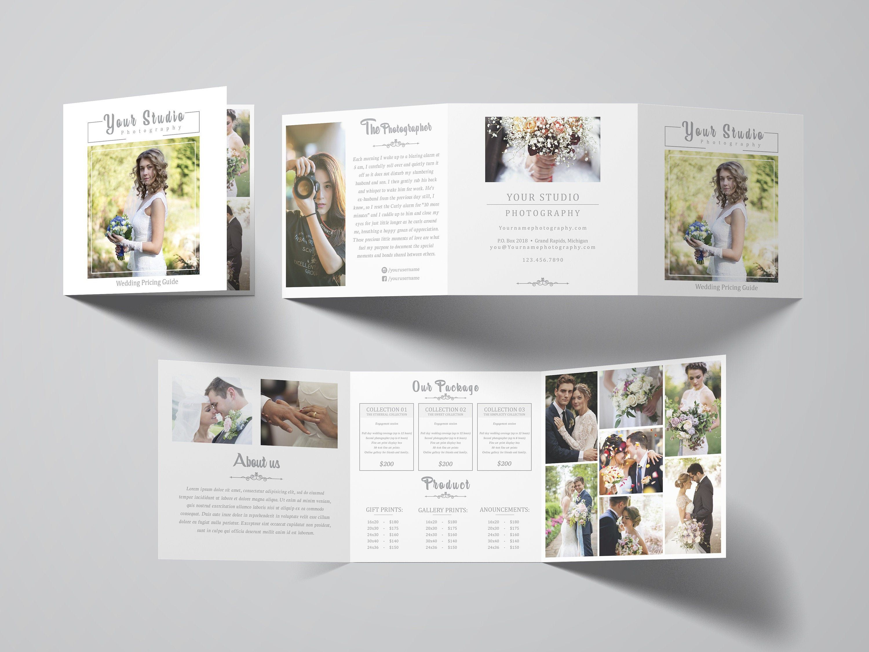 Photography Square Trifold Brochure 5x5 Accordion Template Etsy Photography Brochure Photography Marketing Templates Photographers Price List