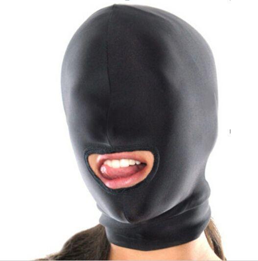 Leather bondage face head mask
