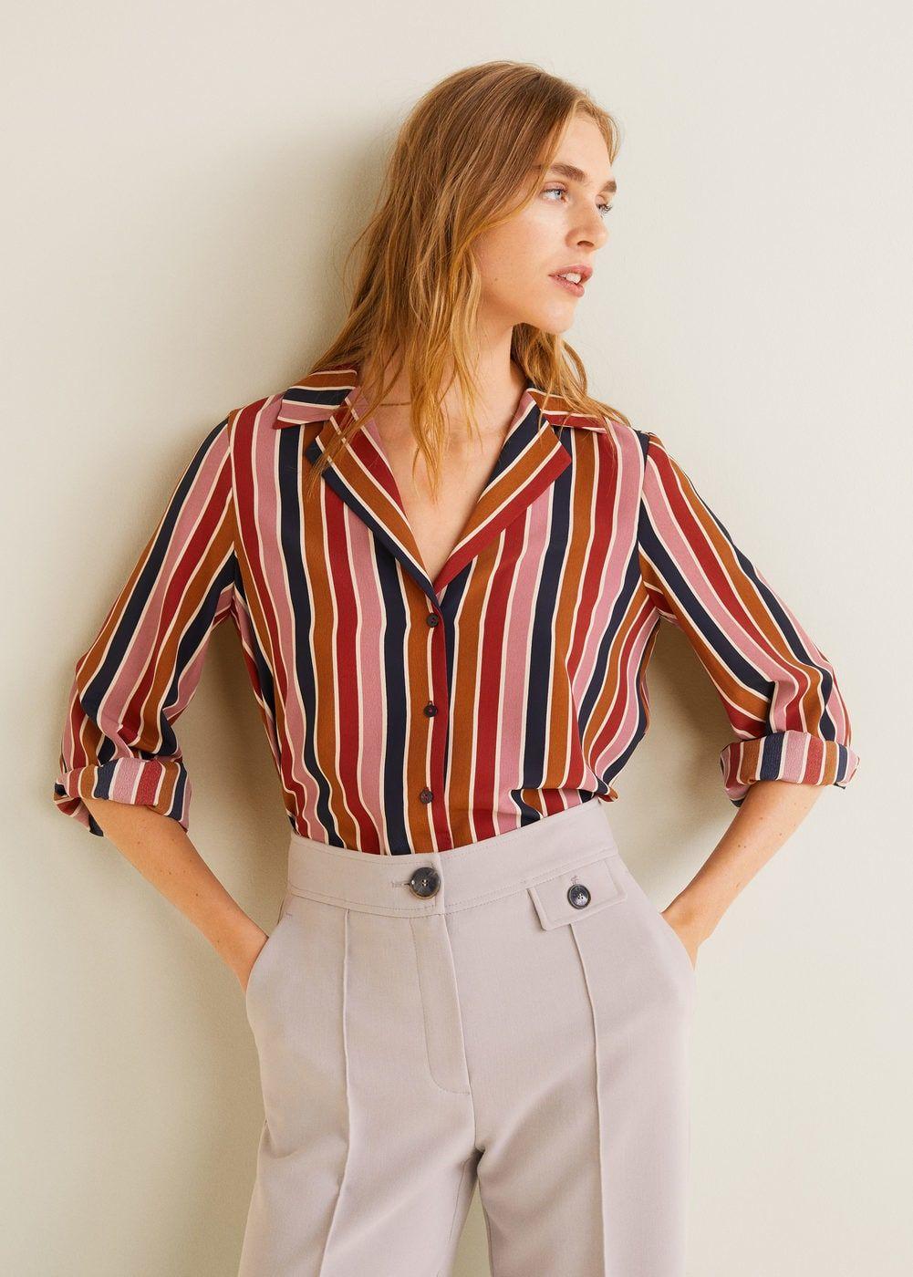Multi Color Striped Shirt Women Mango Usa Striped Shirt Women Striped Shirt Womens Shirts