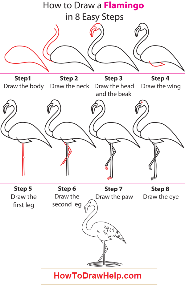 How To Draw A Flamingo Elementary Art How To Draw Birds In
