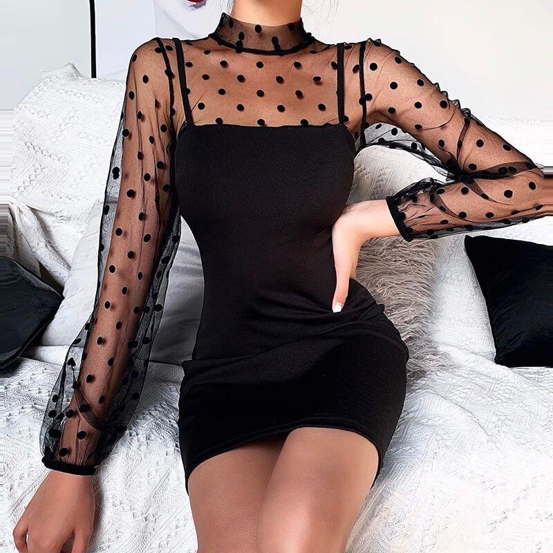 Women's Polka Dot Decorated, Sexy, Turtleneck, Str