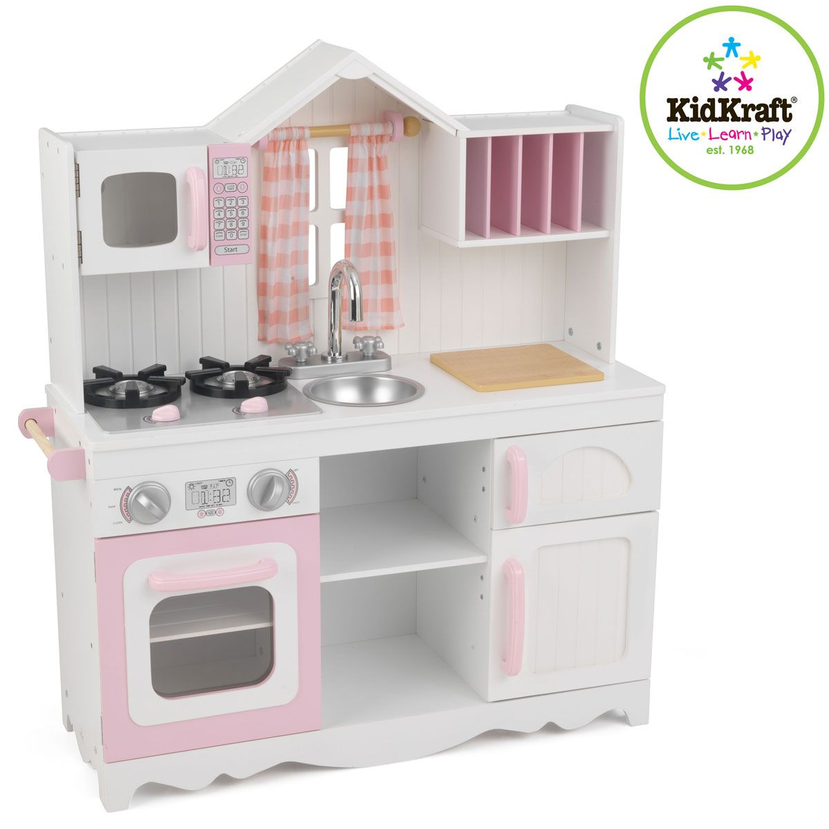 Kidkraft Modern Country Kitchen 53222 Pink Wooden Retro Toy Wood Play Hob Oven