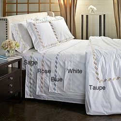 Scroll Embroidery 300 Thread Count Cotton 3 Piece Duvet Cover Set