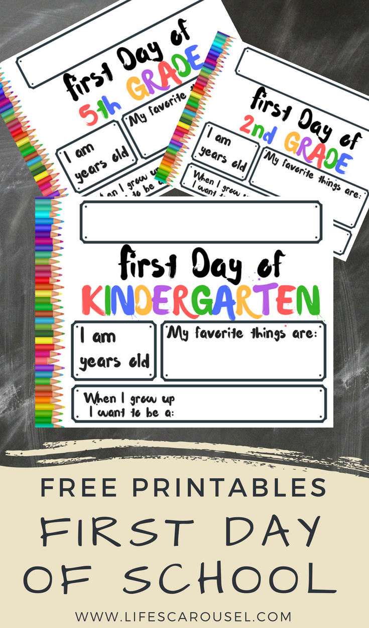 picture about Printable Back to School Signs identified as Initial Working day of University Signs and symptoms Lifes Carousel - Parenting