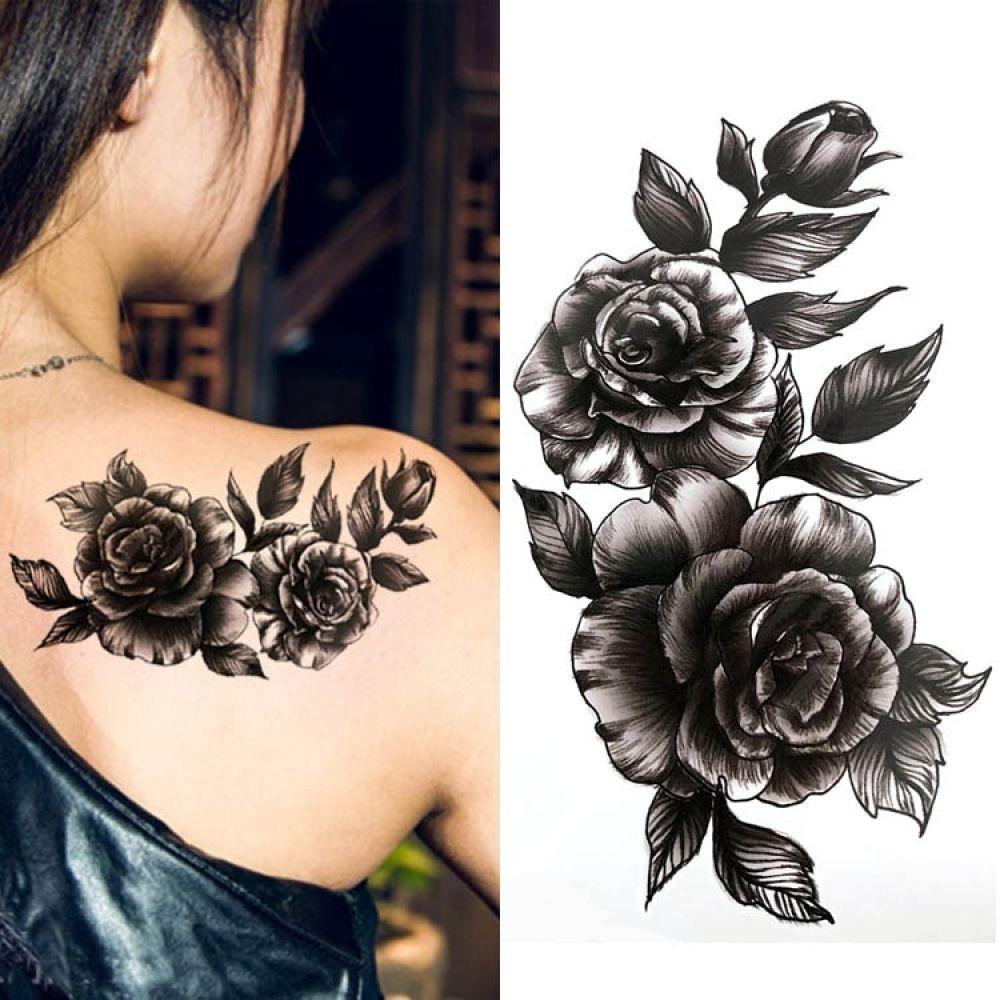 Temporary Waterproof Flower Body Art Stickers Shoulder Tattoos